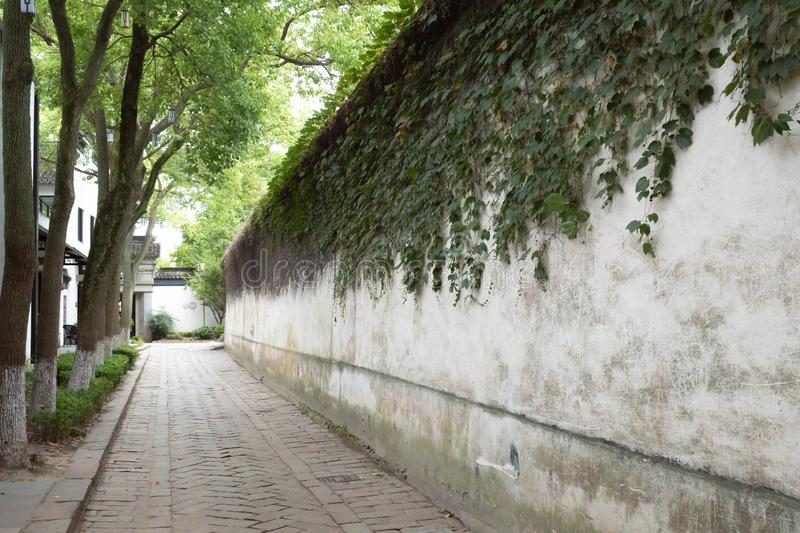 Leere Straße in der Stadt Tongli, Jiangsu, China stockfoto