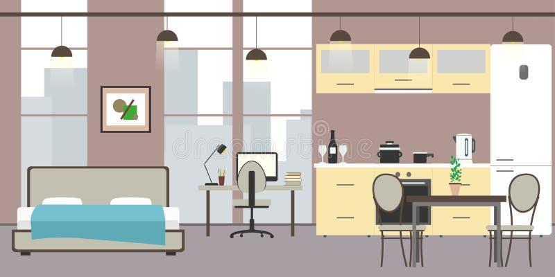 Leere Studiowohnung mit großen Fenstern lizenzfreie abbildung