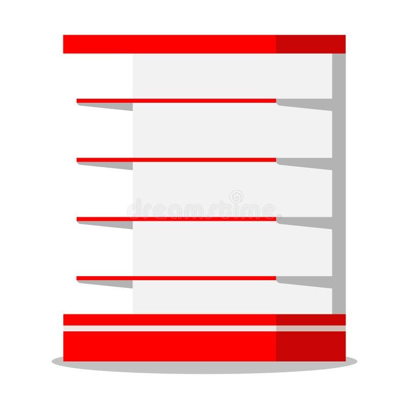 Leere Supermarkteinzelhandels-Ladenregalikone lokalisiert auf weißem Hintergrund stock abbildung
