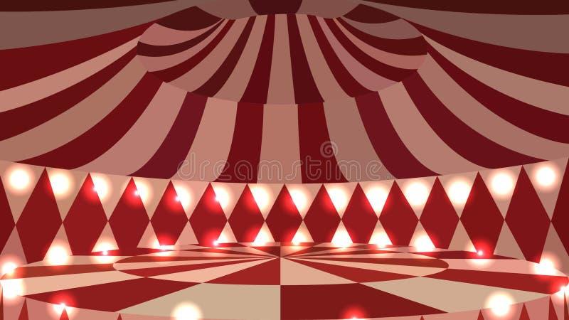 Leere Szene des Zirkusses 3d mit Lichtern lizenzfreie abbildung