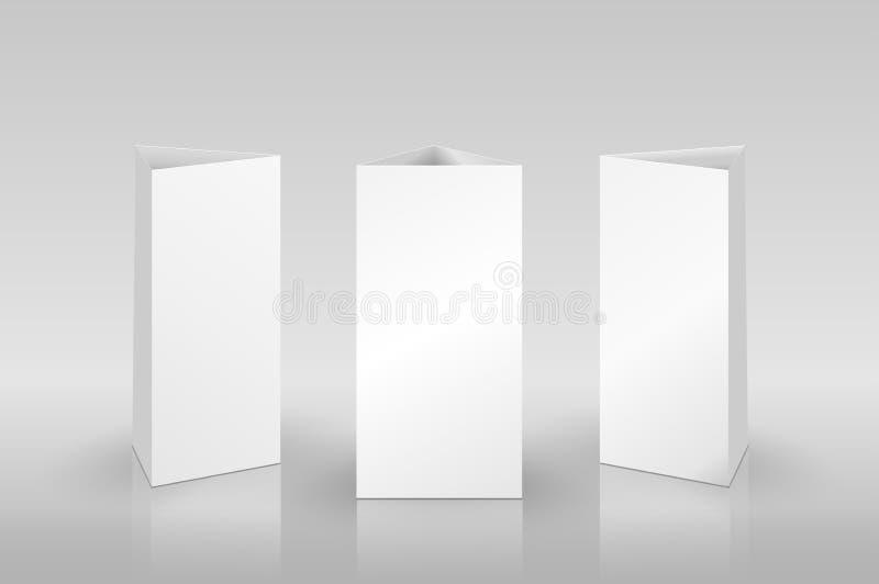Leere Tabellen-Zelt lokalisiert auf grauem Hintergrund lizenzfreie abbildung