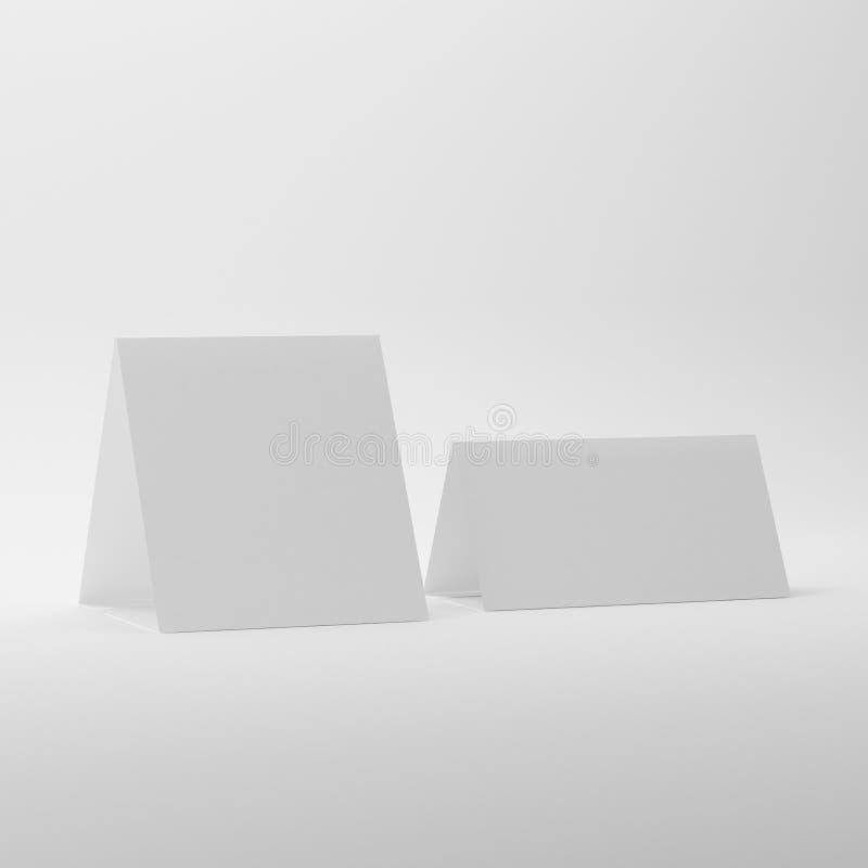 Leere Tabellen-Zelt-Modelle auf weißem Hintergrund stock abbildung
