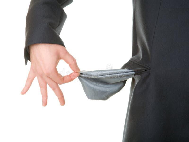 Leere Tasche des Geschäftsmannerscheinens lizenzfreies stockfoto