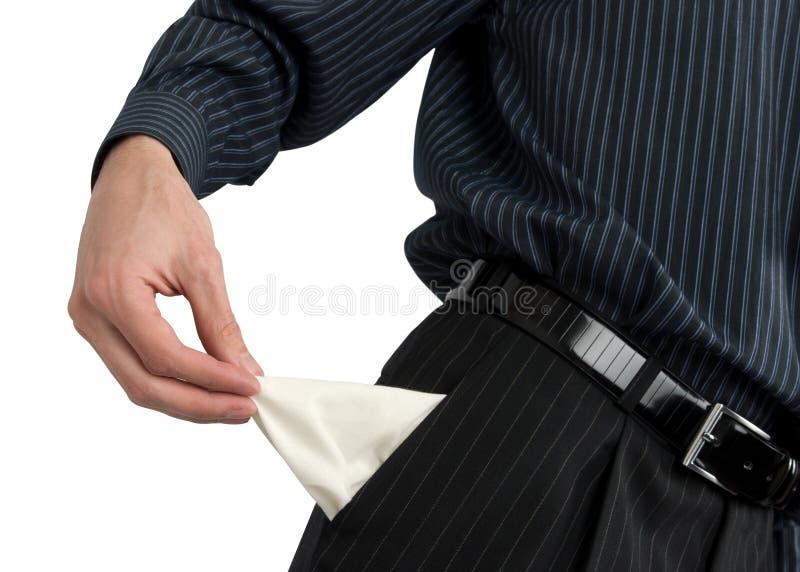 Leere Tasche des Geschäftsmannerscheinens lizenzfreie stockfotos