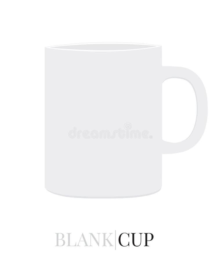 Leere Tasse Tee, leerer Tasse Kaffee, Schale Milch Weiß, klar, freier Raum, lokalisierter Schalen-Vektor auf weißem Hintergrund lizenzfreie abbildung