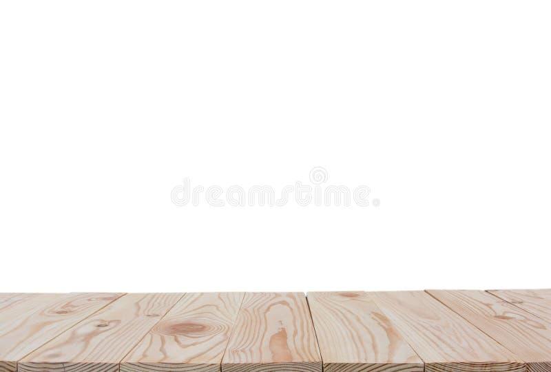 Leere Tischplatte des hölzernen Brettes lokalisiert auf weißem Hintergrund mit Beschneidungspfad- und Kopienraum für Anzeige oder stockbild