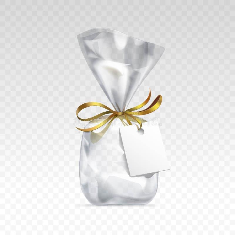 Leere transparente Plastiktasche, die leerer weißer Aufkleber lokalisierten Hintergrund verpackt lizenzfreie abbildung