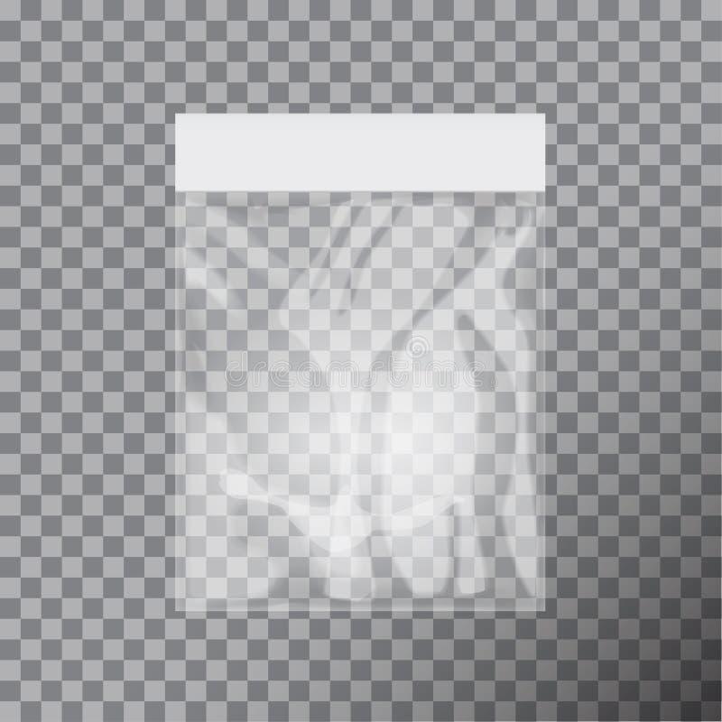 Leere transparente Plastiktascheschablone Weiße Verpackung mit Fallschlitz Modell-Vektorillustration lizenzfreie abbildung