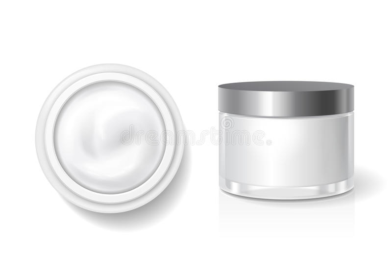 Leere Verpackung der Creme, Butter für Hautpflege, weißes kosmetisches Glas mit silberner Deckelvektorschablone Spitzen- und Seit vektor abbildung