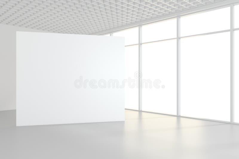 Leere weiße Anschlagtafel im leeren Raum mit großen Fenstern, verspotten oben, Wiedergabe 3D vektor abbildung