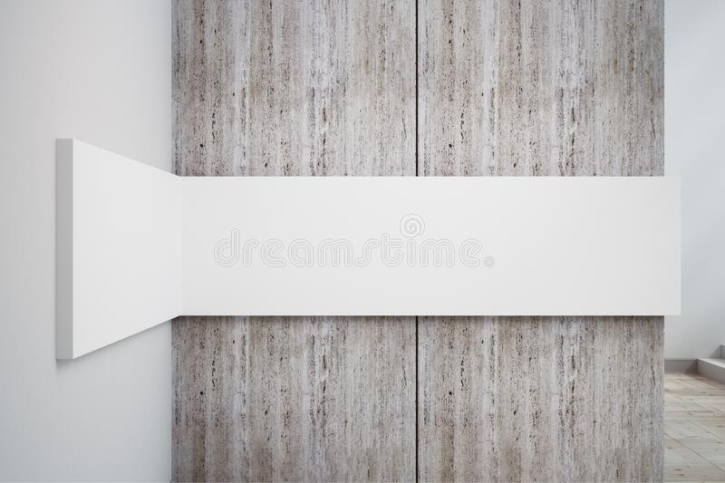 Leere weiße Betonmauerfahne stock abbildung