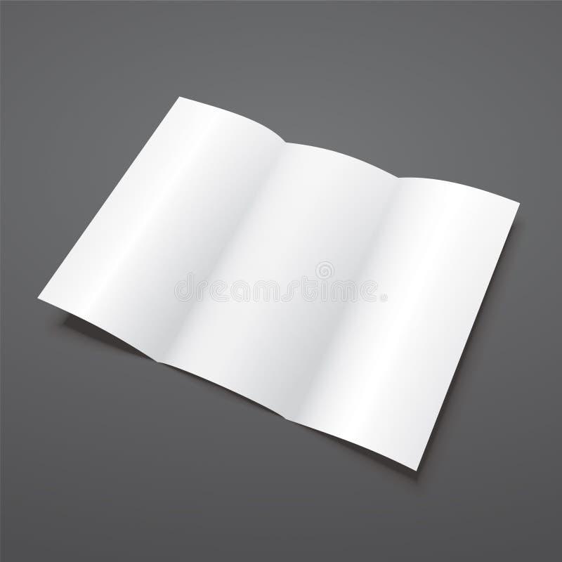 Leere weiße dreifachgefaltete Vektorbroschürenschablone lizenzfreie abbildung