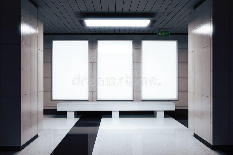 Leere weiße Fahnen auf der Wand in der leeren U-Bahnhalle stock abbildung