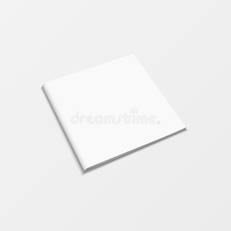 Leere weiße Farbe der Broschüre lokalisiert auf weißem Hintergrund der Buchschablone des Modells 3d Draufsicht für den Druck des  lizenzfreie abbildung