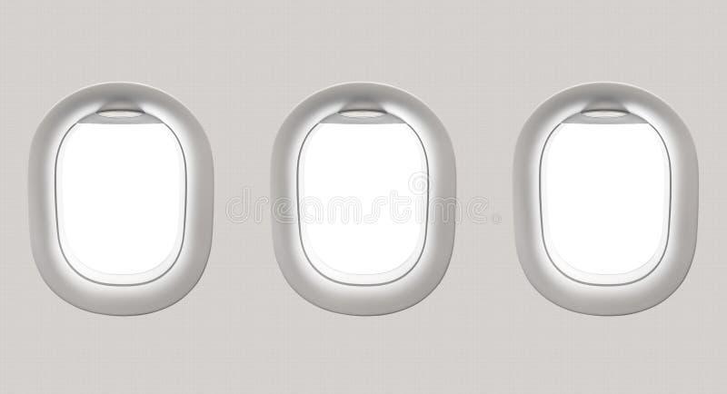 Leere weiße Flugzeugfenster lizenzfreie abbildung