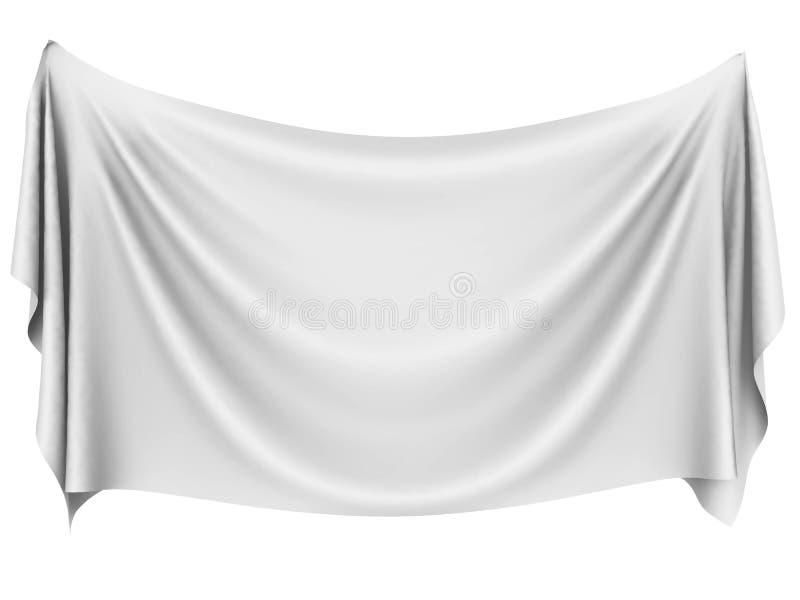Leere weiße hängende Stofffahne stock abbildung