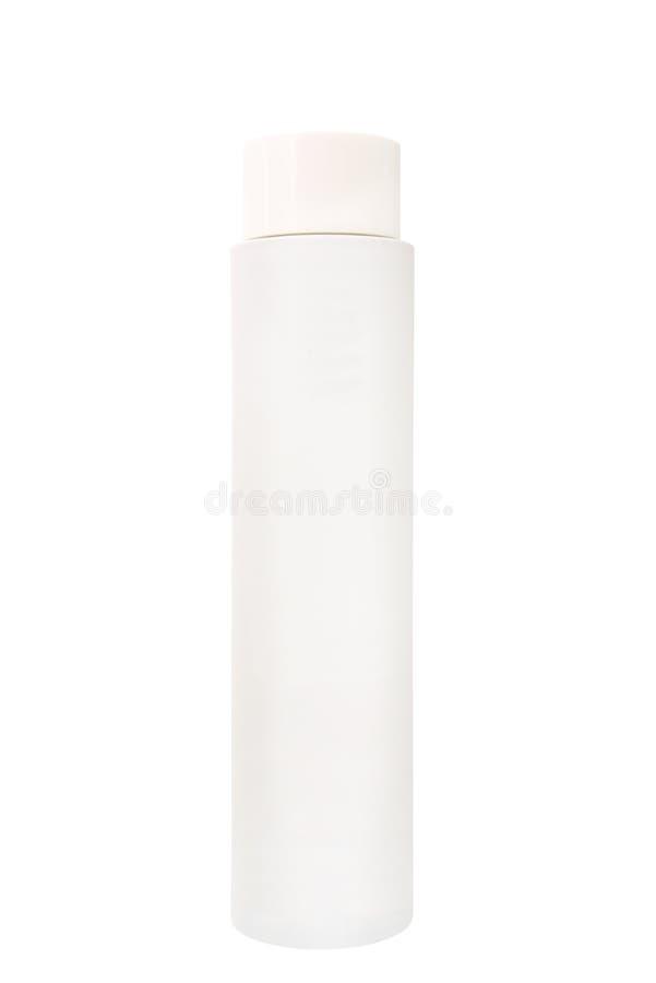 Leere weiße kosmetische Flasche stockfoto