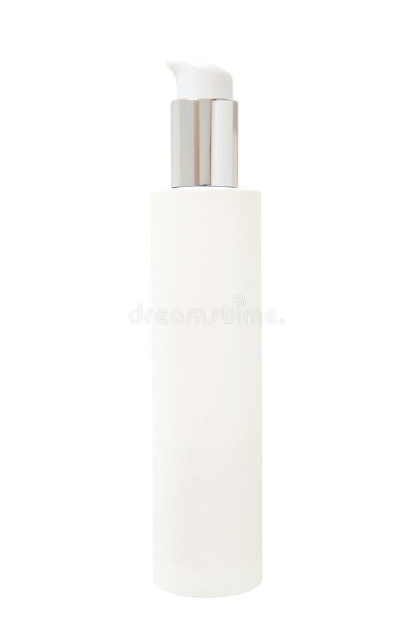Leere weiße kosmetische Flasche mit Pumpe lizenzfreie stockfotos