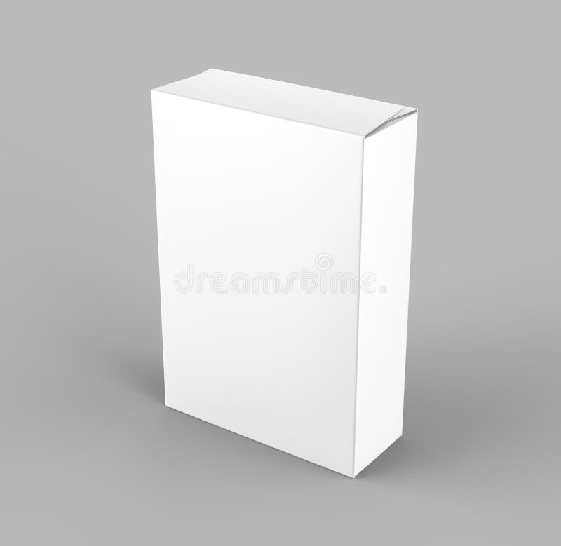 Leere weiße Lebensmittelpappschachtel 3d übertragen Abbildung stock abbildung
