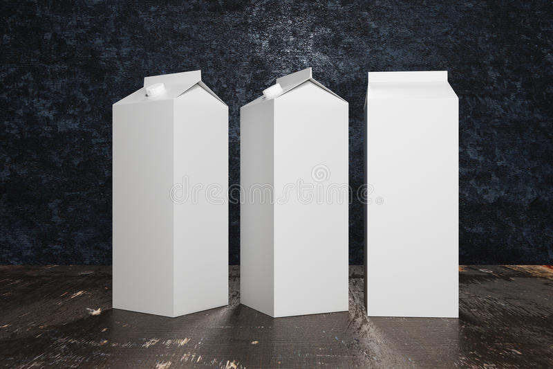 Leere weiße Milch-/Saftverpackungen vektor abbildung