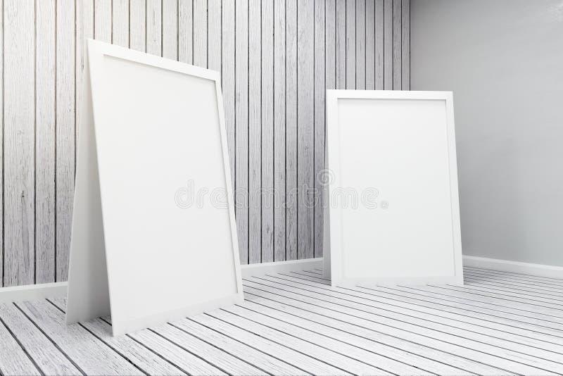 Leere weiße Plakate im Innenraum stock abbildung