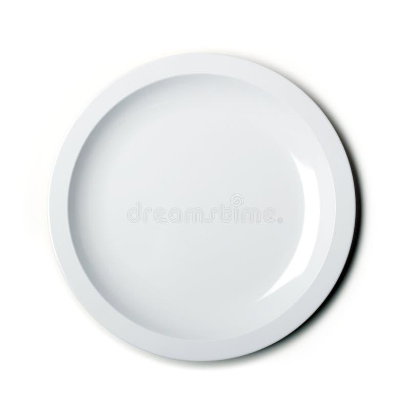 Leere weiße Platte getrennt stockfotografie