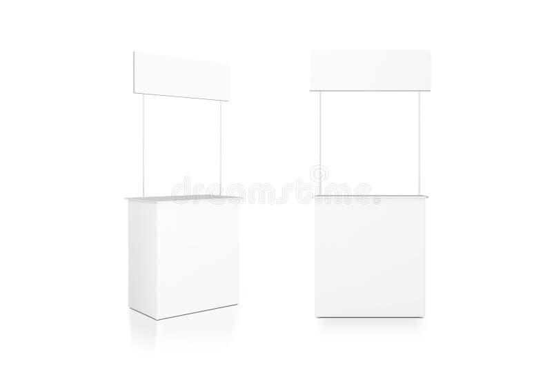 Leere weiße Promozählermodellstand-, vordere und Seitenansicht, Beschneidungspfad lizenzfreie abbildung