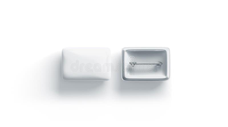 Leere weiße rechteckige Ausweismodell-, vordere und Rückseite, lokalisiert stock abbildung