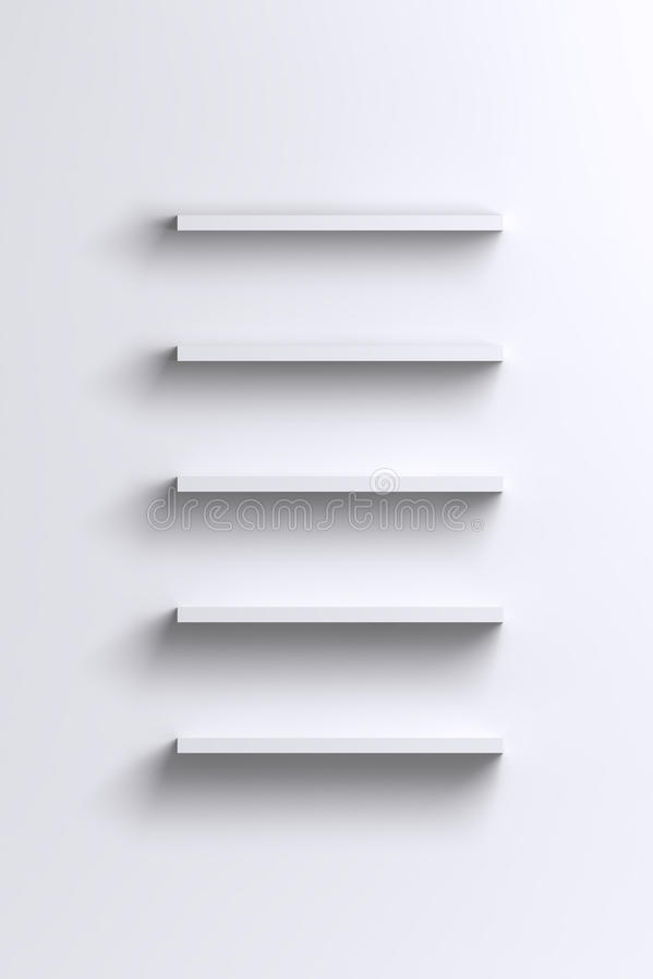 Leere weiße Regale auf leerer Wand stock abbildung