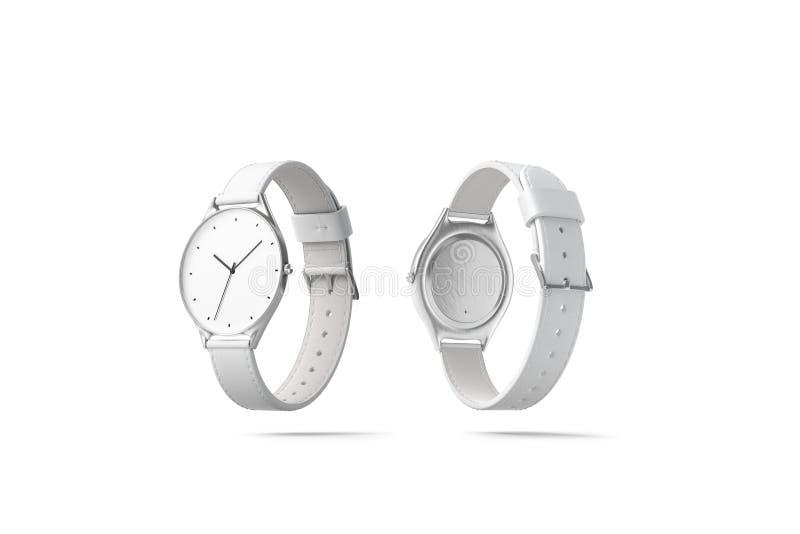 Leere weiße Uhruhrarmbandmodell-, lokalisierte, vordere und Rückseite stock abbildung