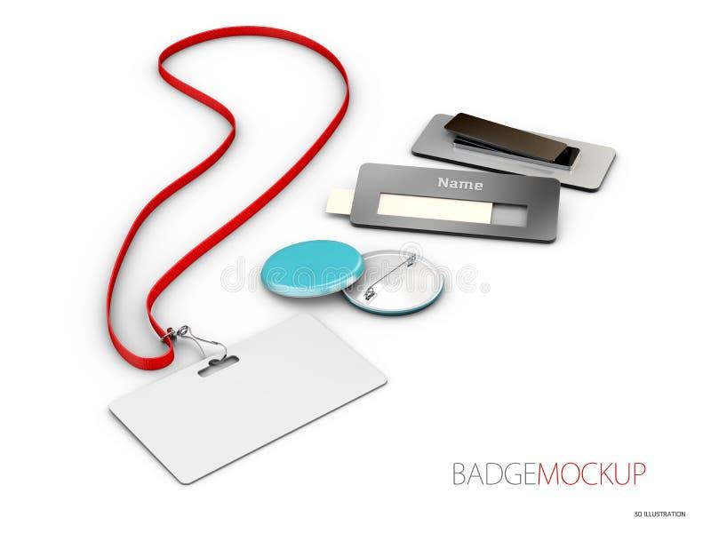 Leere weiße und rote Ausweise Pin-Knopf realistisches Modell der Illustration 3d stockbilder