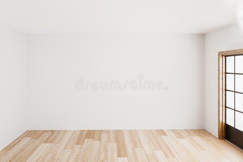 Leere weiße Wandecke des leeren einfachen Innenraumhintergrundes und weißer Holzfußbodenzeitgenosse, Wiedergabe 3D lizenzfreie abbildung