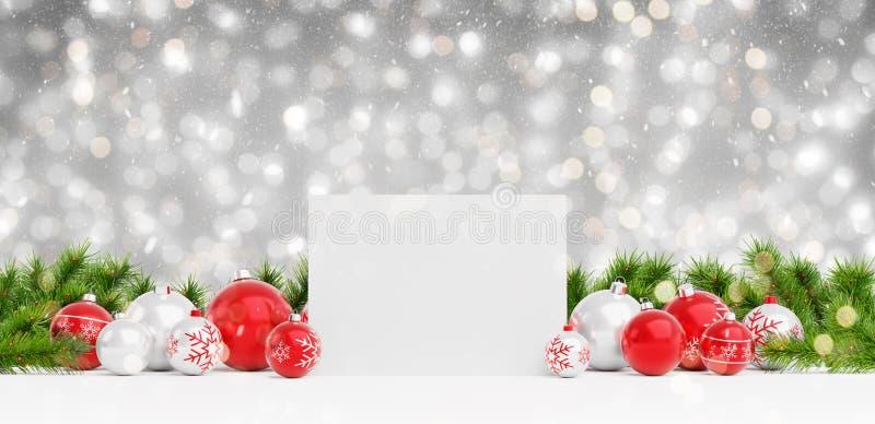 Leere Weihnachtskarte, die auf roten Flitter und Wiedergabe des Geschenks 3D legt stock abbildung