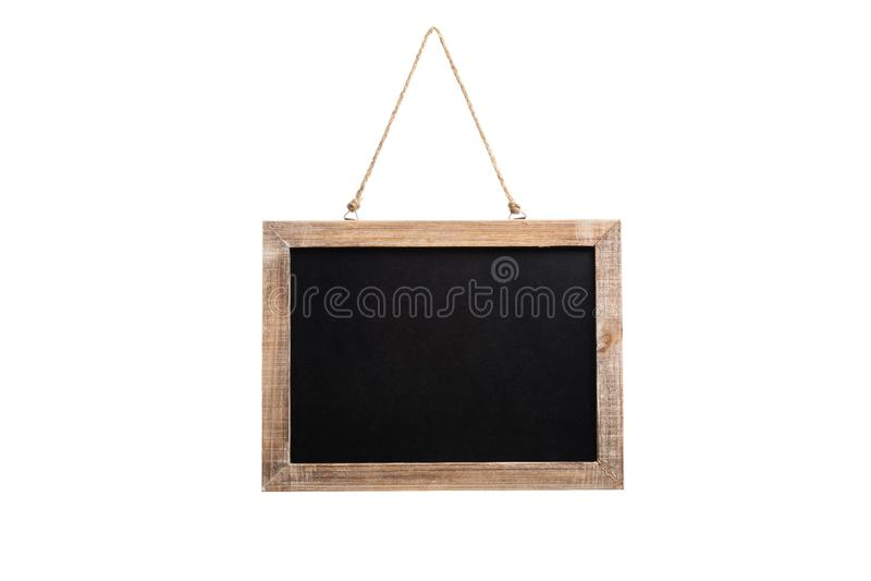 Leere Weinlesetafel mit Holzrahmen und Seil für das Hängen lizenzfreie stockfotografie