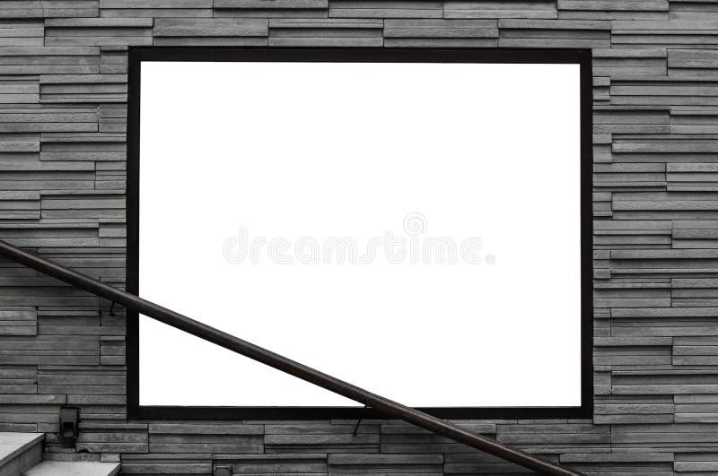 Leere Werbungsanschlagtafel auf Ziegelsteinen planen Straßenwand, mit Handlauf und konkreten Treppenschritten lizenzfreie stockfotografie