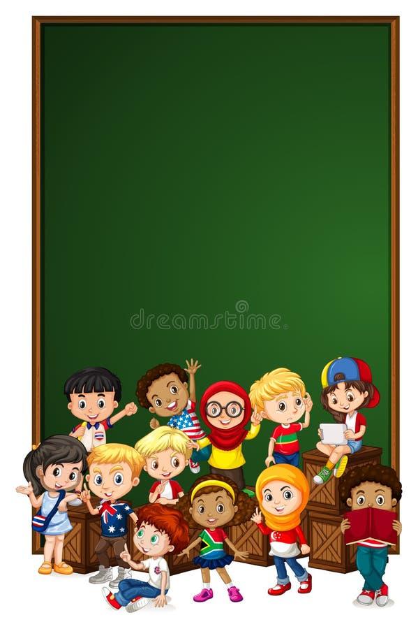 Leere Zeichenschablone mit Kindern auf Holzkiste stock abbildung