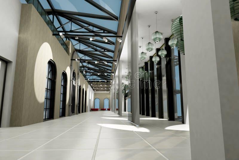Leeren Sie breiten Raum mit geometrischen Wänden, Innensho lizenzfreie abbildung