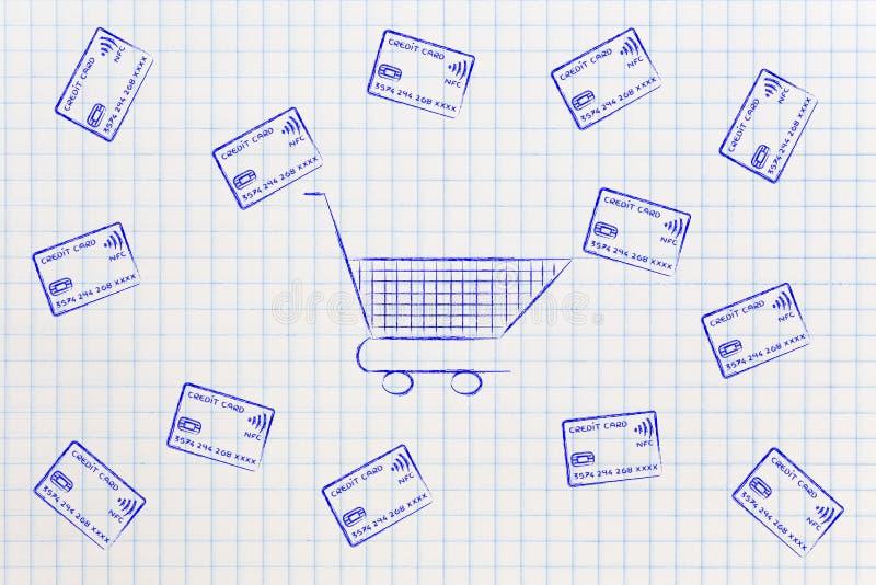Download Leeren Sie Den Warenkorb, Der Indem Sie Kreditkarten Umgeben Wird, Fliegen Stock Abbildung - Illustration von etat, kauf: 96927077