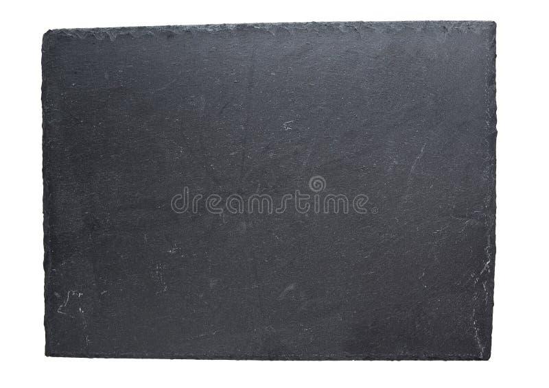 Leeren Sie die schwarze Schieferplatte, die auf weißem Hintergrund lokalisiert wird lizenzfreie stockfotografie