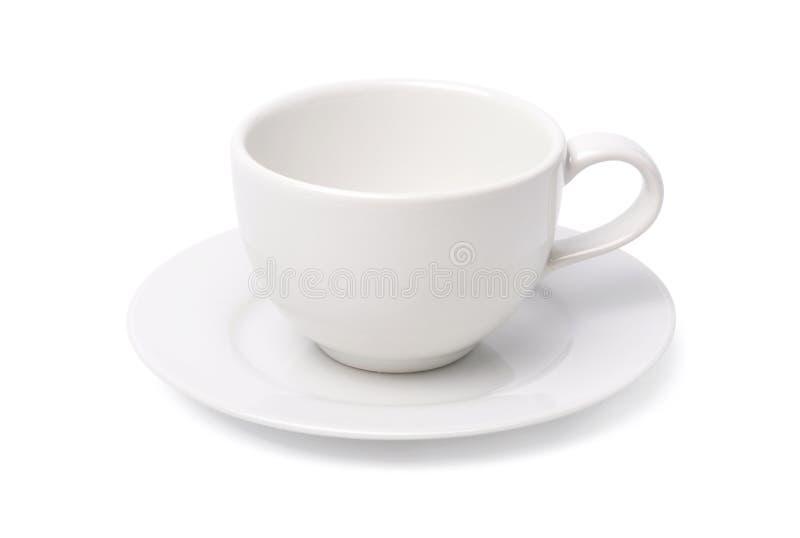 Leeren Sie die weiße Kaffeetasse, die auf weißem Hintergrund lokalisiert wird stockbild