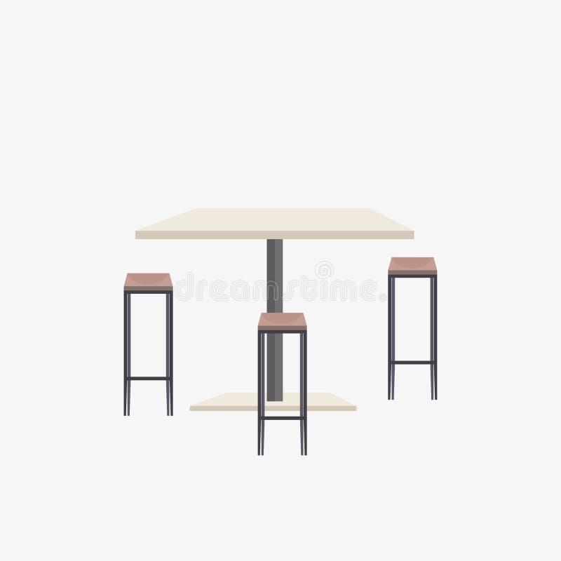 Leeren Sie keine Leutecafétabelle mit Restaurantcafeteria-Möbelebene der Stühle moderner stock abbildung
