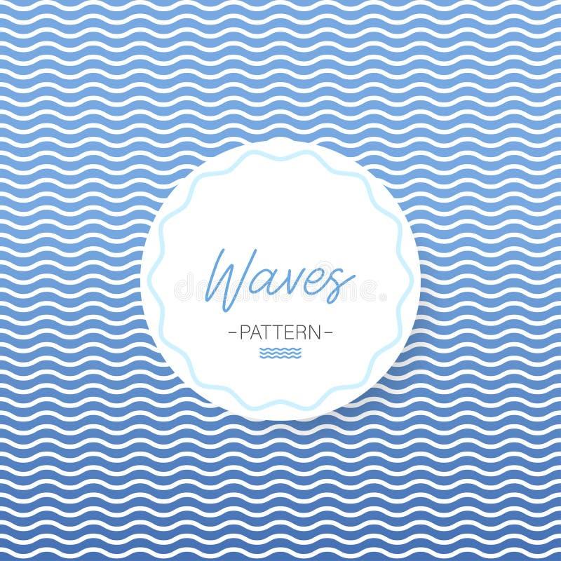 Leeren Sie Kennsatz Nahtloses Muster Wellenseeillustration Hintergrund für eine Einladungskarte oder einen Glückwunsch Vektor stock abbildung