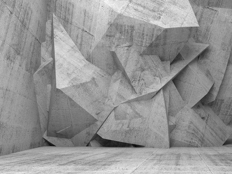 Leeren Sie konkreten Innenraum 3d mit chaotischer polygonaler Wand lizenzfreie abbildung