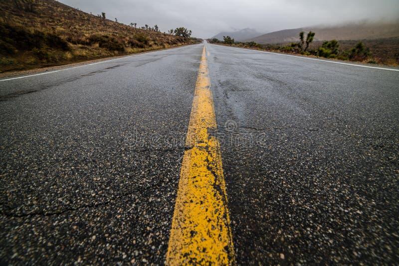 Leeren Sie nasse Wüstenasphalt-Pflasterungsstraße mit gelben Landstraßenmarkierungslinien lizenzfreie stockfotos