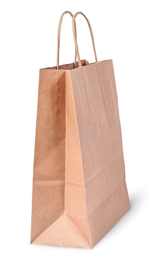 Leeren Sie offene braune Papiertüte für das Shoping lizenzfreie stockfotografie