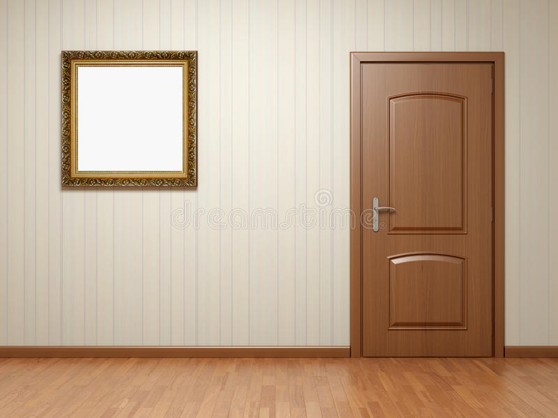Leeren Sie Raum mit Tür und Feld lizenzfreie abbildung