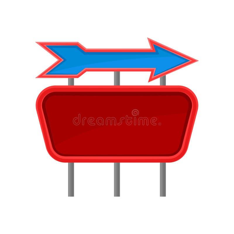 Leeren Sie rotes Schild und blauen Pfeil auf Metallpfosten Werbungsanschlagtafel mit Platz für Text Flacher Vektor für Website od stock abbildung