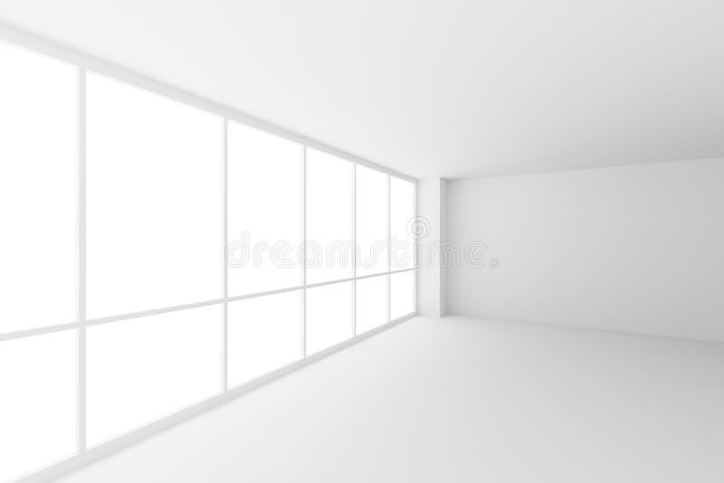Leeren Sie weiße Geschäftslokal-Raumecke mit großen Fenstern, weit lizenzfreie stockfotografie