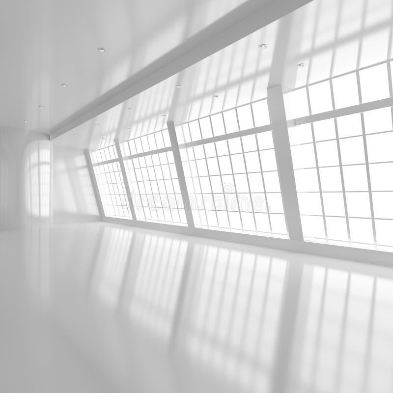 Leerer weißer Raum mit großem Windows lizenzfreie abbildung