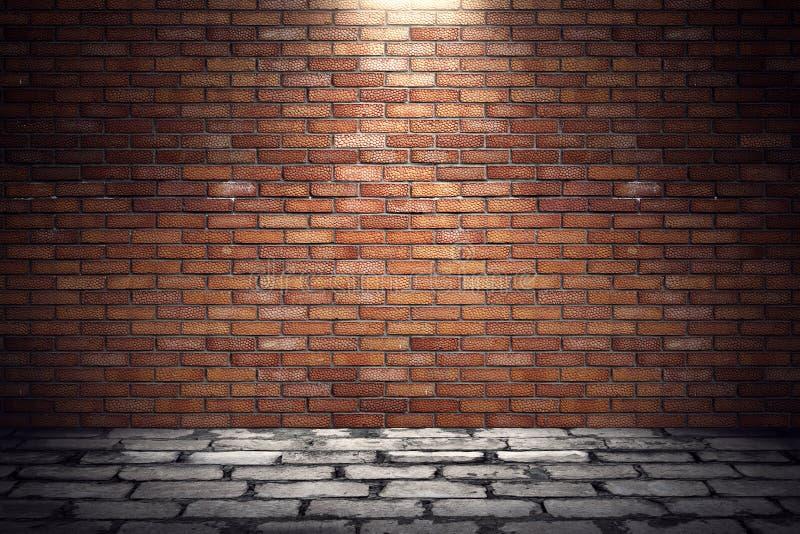 Leerer alter grungy Raum mit Wand des roten Backsteins und Pflastersteinboden vektor abbildung